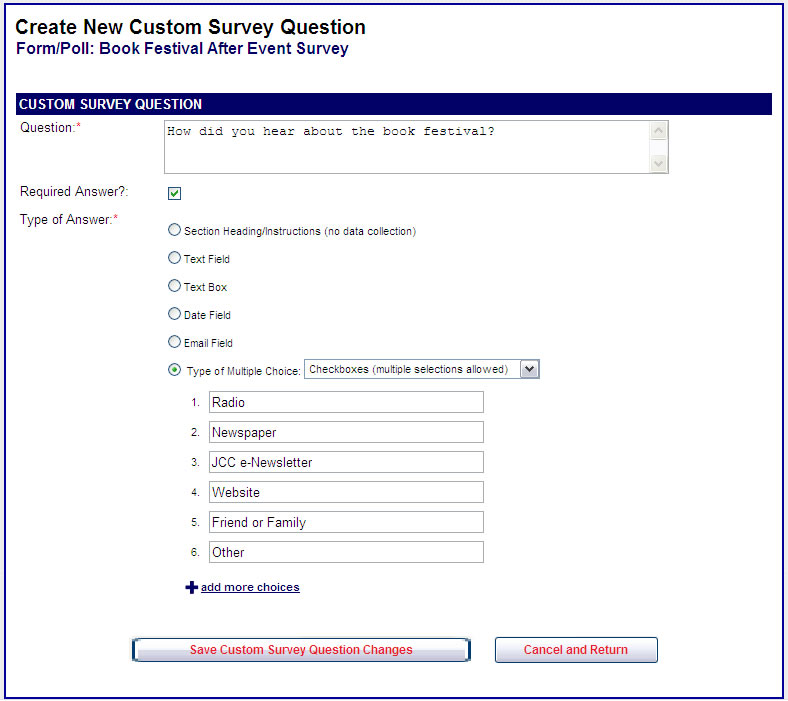 online event registration wizevents how do i add survey form